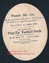 1880's Sharpe puzzle card Thrown Forward rugby oval-shape card